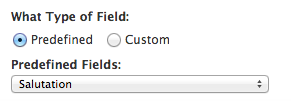Create Predefined Fields Page