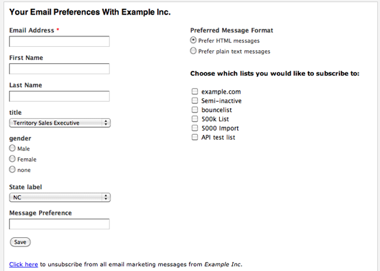 Manage Preferences webform