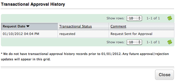 Transactional Approval Table