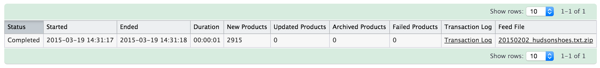 Product Import Reports Table