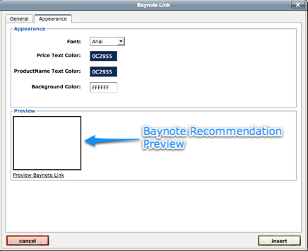 Preview Baynote Recommendation