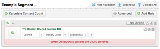 Segment Delivery Group Limit Error