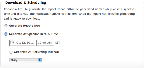 Download Report Schedule Generate Time