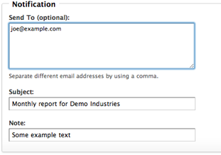 Download Report Email Settings